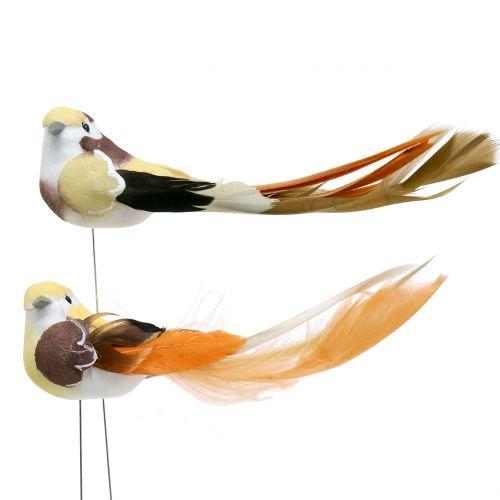 Vogel am Draht Braun/Orange 14cm 12St