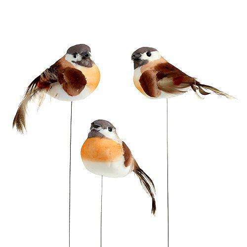 Vogel am Draht 8cm Braun-Orange 12St kaufen in Schweiz