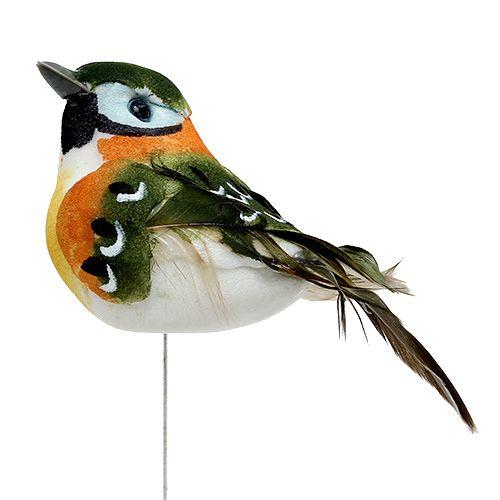 vogel mit feder 7cm gr n braun12st kaufen in schweiz. Black Bedroom Furniture Sets. Home Design Ideas