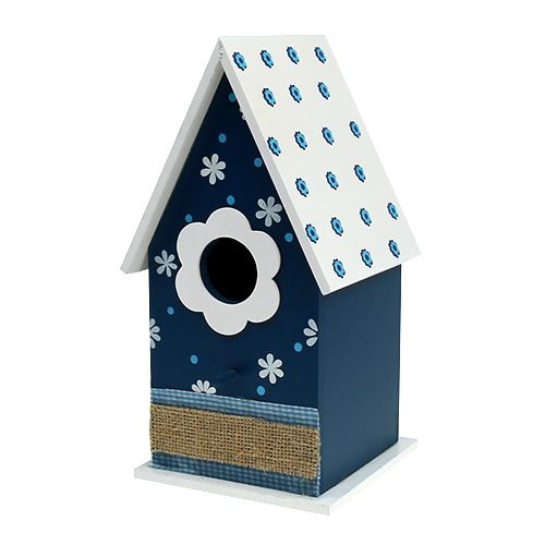vogelhaus m bl tenmuster helles dach 28cm blau kaufen in. Black Bedroom Furniture Sets. Home Design Ideas