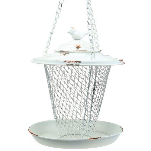 Vogelhäuschen zum Hängen Antik Weiß Ø22cm H26,5cm