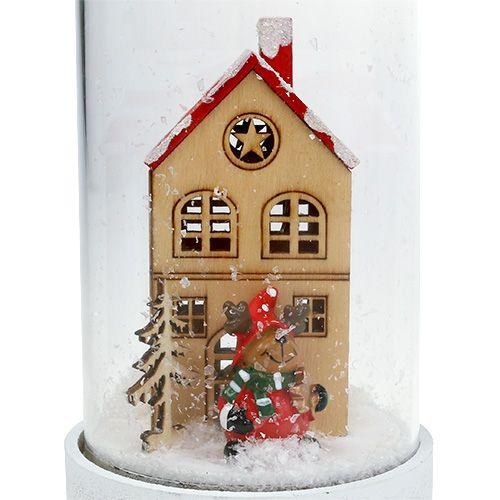Weihnachtsdeko Haus mit Glasglocke Ø9cm H16,5cm
