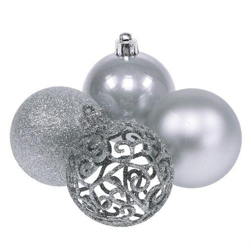 Silberne Weihnachtskugeln.Weihnachtskugel Silber O6cm 16st