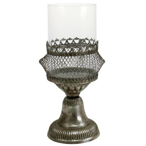 Windlicht Antik Glas und Metall Ø14cm H27cm