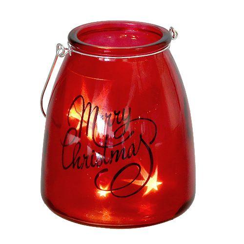 Windlicht mit Beleuchtung Rot Ø12cm H14,5cm