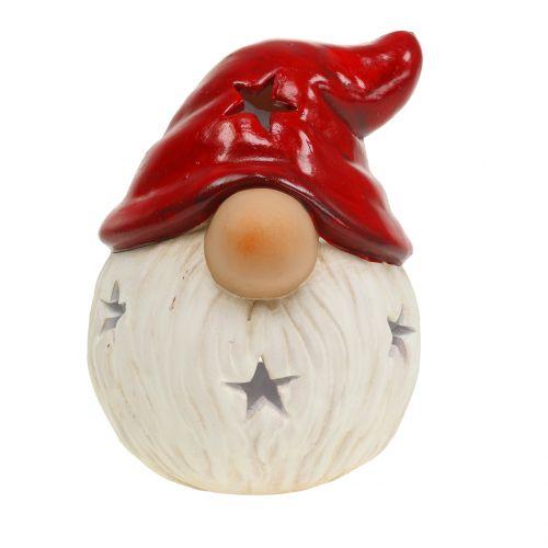Windlicht Weihnachtsmann Rot, Weiß Ø10cm H13cm