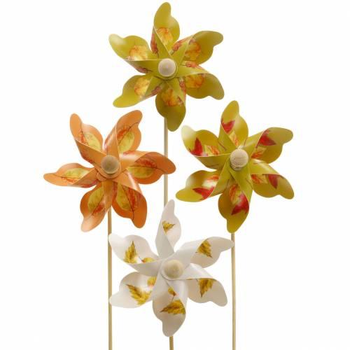 Deko-Windmühlen mit Herbstblattmotiv Orange/Weiß/Grün L27,5 Ø22cm 12St