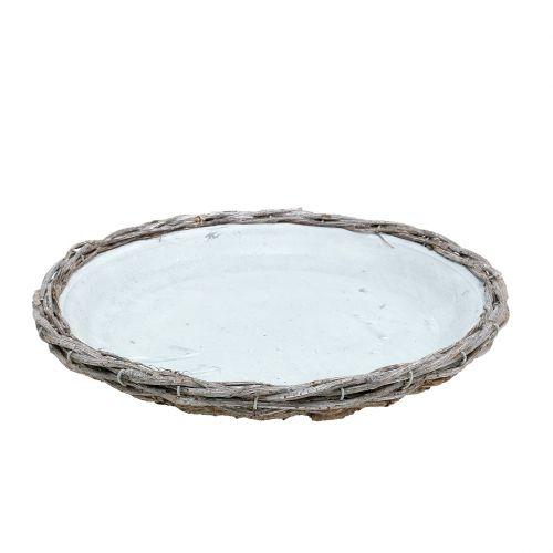 Zinkteller mit Ästen Grau gewaschen Ø33,5cm
