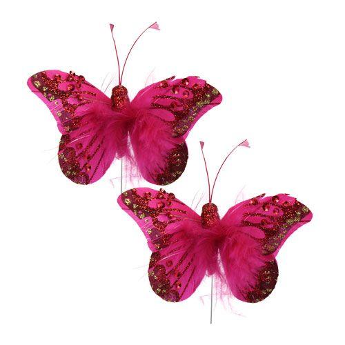 Federschmetterling pink mit strass glitter 8cm 6st kaufen for Pink deko