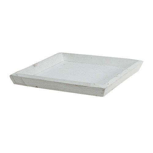 Holztablett Weiß 20cmx20cm