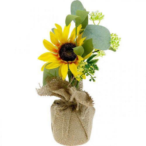 Künstliche Sonnenblume, Seidenblume, Sommerdeko, Sonnenblume im Jutesack