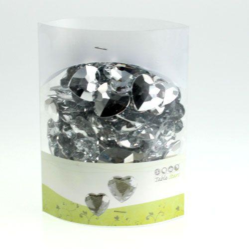 Streudeko Acrylherzen Silber 2cm - 3cm 120St