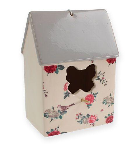 keramik vogelhaus zum h ngen in creme grau 20cm kaufen in. Black Bedroom Furniture Sets. Home Design Ideas