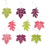 Deko Blätter aus Holz zum Hängen farbig 12cm 9St