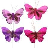 Federschmetterling 7cm pink purple 24St mit Draht