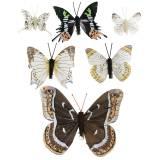 Deko Schmetterling mit Metallclip Natur Silber sortiert H4,9cm/5,8cm/7,4cm 6St