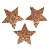 Sterne Kupfer 6,5cm mit Glimmer 36St