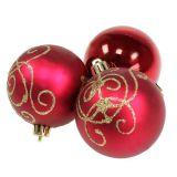 Weihnachtskugel Plastik Rubin Ø70mm 8St