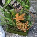 Anhänger Blütenelfe, Frühlingsdeko, Dekoring mit Fee, Edelrost Ø17cm 3St