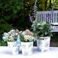 Frühlingsdeko, Metalleimer, Pflanzeimer Blumenmuster, Metalldeko H15/11/9,5cm 3er-Set